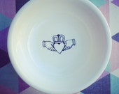 Claddagh ring dish. Represents Love, friendship and loyalty.