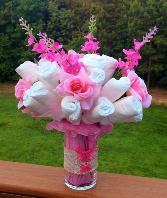 Diaper cake centerpiece bouquet corset by