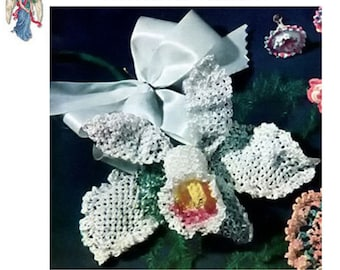 pdf 50s Orchid Vintage Crochet Pattern -American Thread Co. Crocheted FLOWER Crocheting Home Decoration Bloom Blossom