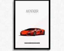 Lamborghini Aventador Iconic Poster Print - Italian Supercar Poster - Art Print, Multiple Sizes - 8x10 up to 24x36 - Elegant Style Minimal