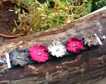 Big Leather Flower Bracelet