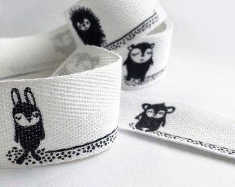 NEW! Paapii character organic cotton ribbon labels - UK Seller
