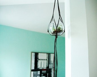 Support for plant in macrame leather / Leather macrame plant hanger