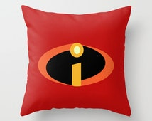 the incredibles red and orange logo. throw pillow with insert