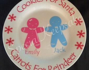 Personalised Santa Reindeer Christmas Treat Plate Cookie Carrot Festive Children Gingerbread Boy Girl