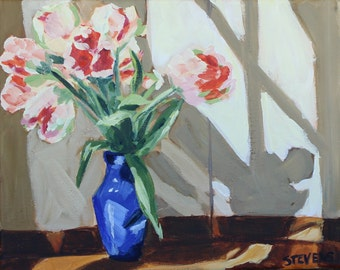 Parrot Tulips- Original Acrylic Painting on 8x10 wrapped canvas