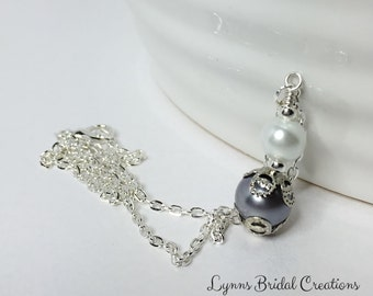 Grey Pendant Necklace Vintage Style Pendant Gothic Wedding Grey White Silver Grey Bridesmaid Gift Mother of the Bride Gift Winter Wedding