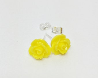 Yellow Rose Earrings Resin Flower Earrings Bridesmaid Earrings Yellow Wedding Rose Earrings Mother of the Bride Gift Flower Girl Gift
