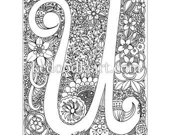 instant digital download - letter U - adult coloring page