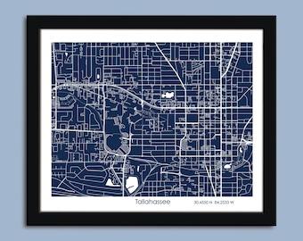 Tallahassee map, Tallahassee city map art, Tallahassee wall art poster, Tallahassee decorative map