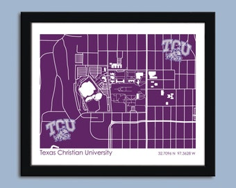 Texas Christian University, University wall art poster, TCU decorative map