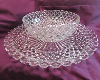 Early American Patterned Glass (EAPG) Serving Tray and Bowl