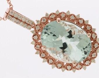 14kt Gold  Magnificnet Aquamarine & Diamond Pendant  #MJ1746-2M