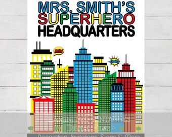 Teacher gifts, Classroom decor, teacher classroom decor, superhero classroom, teacher superhero, teacher appreciation gift, teacher art