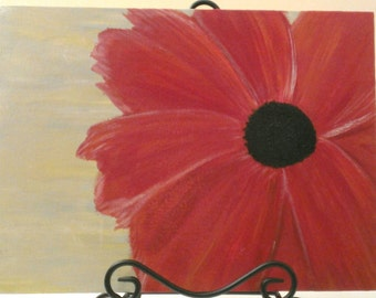Large red flower painting - Red flower painitng - Red modern flower painting - Red abstract painting - Large red flower wall hanging