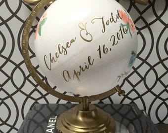8 in Globe Guest Book / rustic globe guestbook / baby showerguestbook / bridal shower guestbook