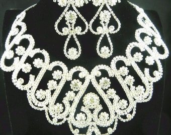 Gorgeous Rhinestone Crystal Bridal Statement Necklace Bridal  Wedding Necklace  Earrings Set