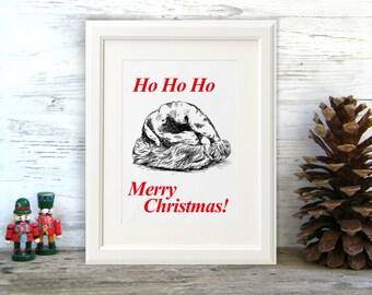Ho ho ho print, Printable Christmas decor, Santa hat, Christmas gift, Merry Christmas, Printable Christmas decor
