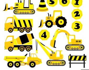 Construction Trucks Digital Clipart