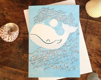 Whale In Sea Letterpress Greeting Card
