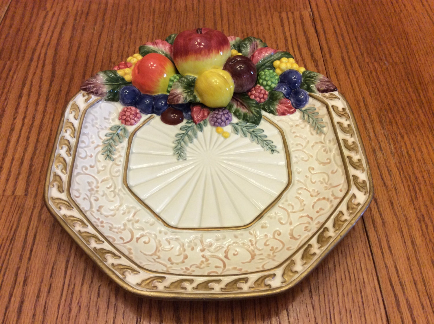 Vintage fitz floyd venezia canape plate octagon embossed for Fitz and floyd canape plate