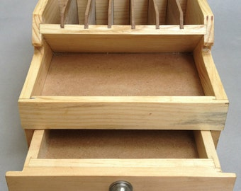 wooden pliers rack with storage drawers bench tool organizer wood compartments