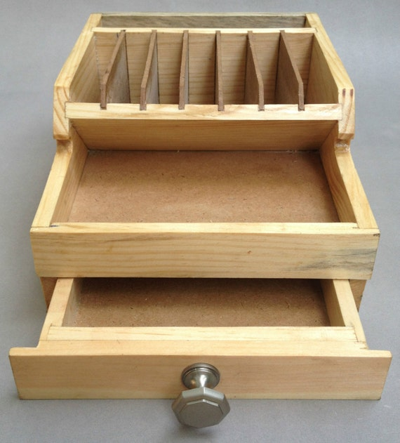 Wooden pliers rack with storage drawers bench tool organizer
