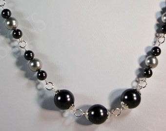 Black and Silver Pearl Necklace