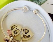 Beautiful Handprint Charm, Fits Pandora and Chamilla Style Charm Bracelets