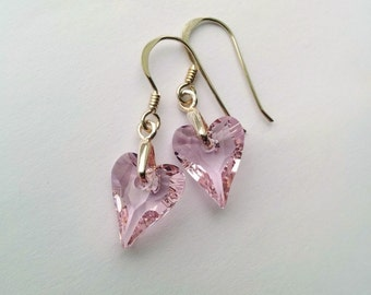 Sterling Silver, Swarovski Wild Heart Earrings, Light Rose Earrings
