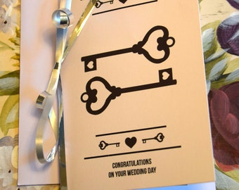 Personalised Wedding Congratulations Greeting Card. Key To Our Heart Theme. Available A5 and A6