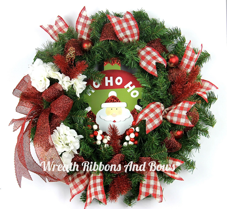Christmas front door wreath santa holiday door wreath red for Front door xmas wreaths
