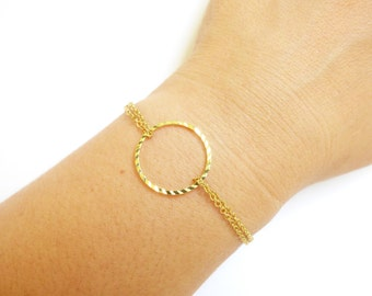 Delicate Gold Circle Bracelet, Dainty Double Chain Bracelet, Simple Modern Bracelet,Everyday Jewelry,Thin Gold Bracelet,Minimalistic Jewelry