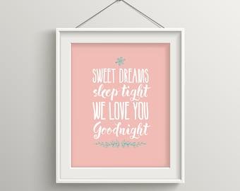 Nursery Decor, Baby Girl Nursery, Nursery Wall Art Girl, Baby Gift Girl, Blush, Sweet Dreams, Nursery Art Print, Kids Room, Hand Letter