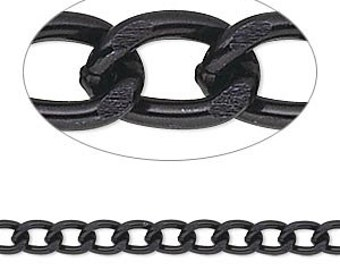 Black Chain, Aluminum Chain, 4mm, Twisted Curb, Unsoldered Chain, Bulk, 3 ft, D499