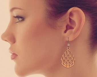 Laser Cut Wood Earring 1309 Medium
