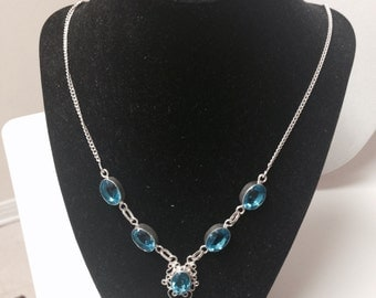 Swiss Blue Topaz Necklace .925 Silver