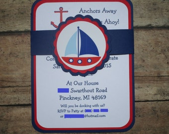 Nautical Theme Birthday Invitations, Sailboat Invitations
