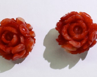 Vintage carved coral flowers, 14 karat gold earrings