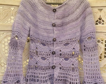 Purple lilac crochet cardigan