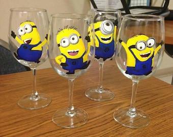 Dancing Minions Wine Glasses