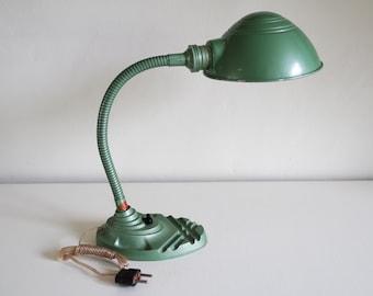Industrial 50' flexible Erpé pearly green desk lamp
