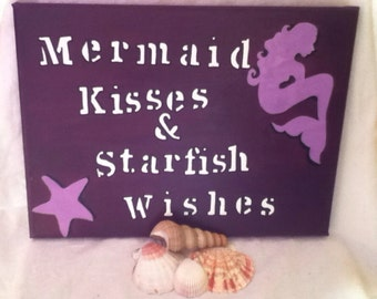 Mermaid kisses & starfish wishes, mermaid, purple, handmade acrylic painting