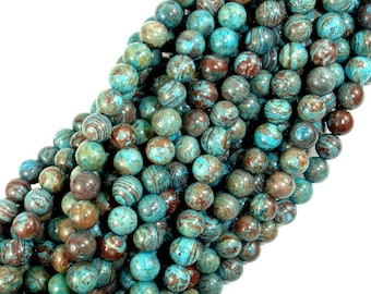 Blue Calsilica Jasper Beads, 6mm(6.5mm) Round Beads, 15.5 Inch, Full strand, Approx 63 beads, Hole 1 mm (496054001)