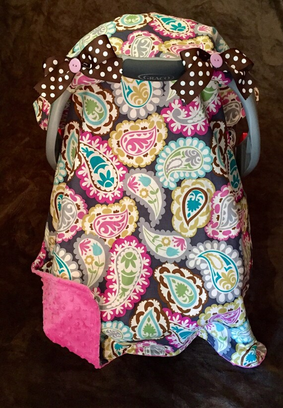 multi colored paisley car seat cover with polka dot bows and. Black Bedroom Furniture Sets. Home Design Ideas