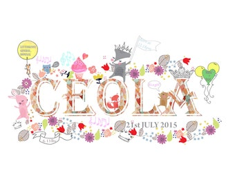 Baby Name Illustration Print (Print 001)