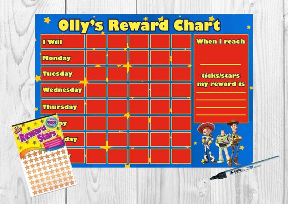 Toy Story Sticker Chart : Toy story personalised reward chart print by