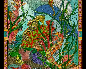 """Seahorse Art -  Underwater Seahorse - 38.5"""" x 32.5"""" Marqued Painting on Canvas Framed"""