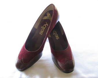 REDUCED!  1980s Vintage Selby Roanoke Burgundy Suede and Leather Womens Wingtip Shoes, Size 7B, NOS New in the Box