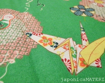 Japanese fabric, 1/2 yard, Orizuru (Paper Crane), Green, 100% cotton